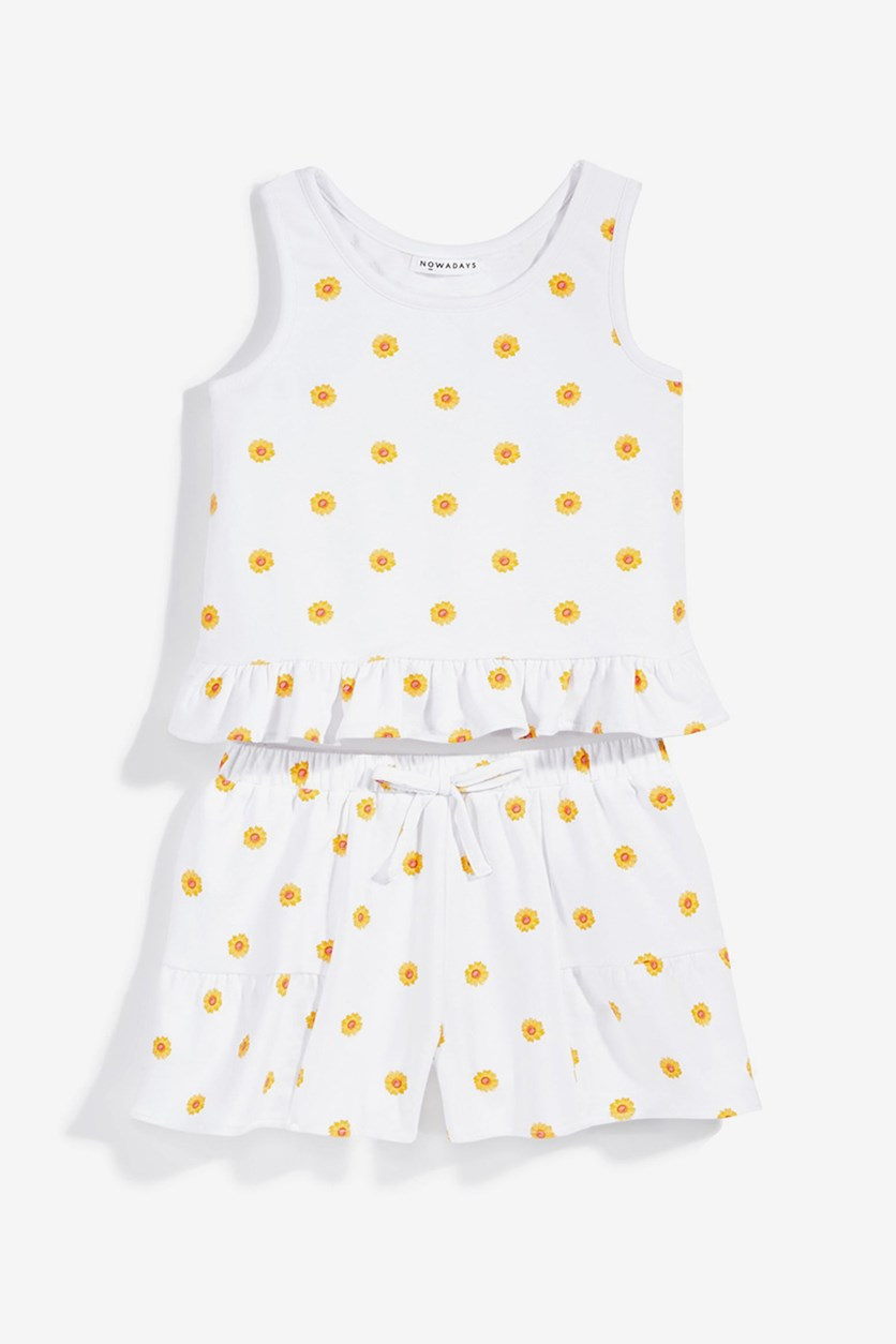 Girls 2-Pc. Daisy-Print Tank Top Set, White