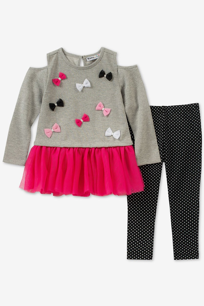 Baby Girls 2-Pc Cold-Shoulder Set, Grey