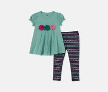 Kids Headquarters Girls 2-Pc. Floral-Trim Tunic & Printed Leggings Set, Green Combo