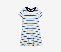 Aqua Girls' Striped & Ribbed T-Shirt Dress, White/Blue