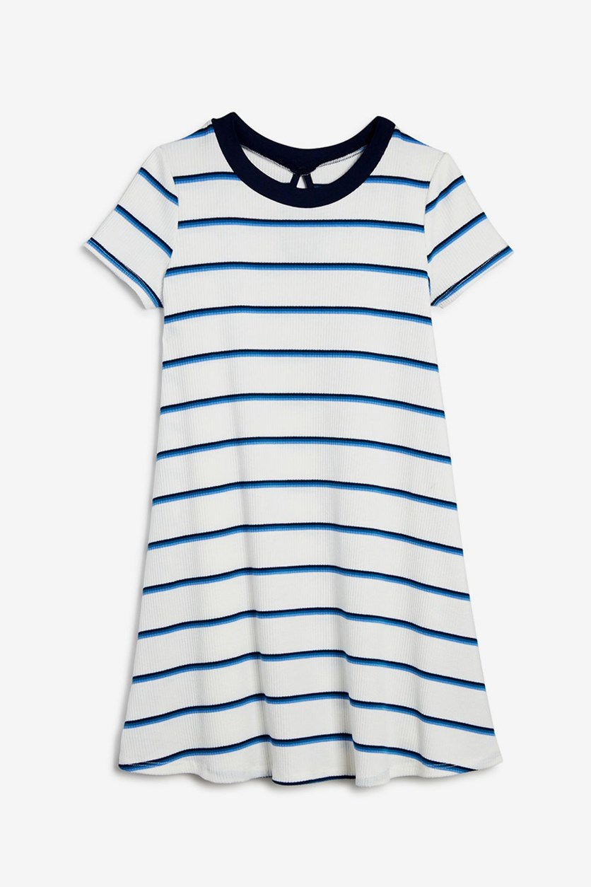 Girls' Striped & Ribbed T-Shirt Dress, White/Blue