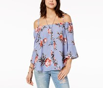 Seven Sisters  Women's Floral Strap Off Shoulder, Blue