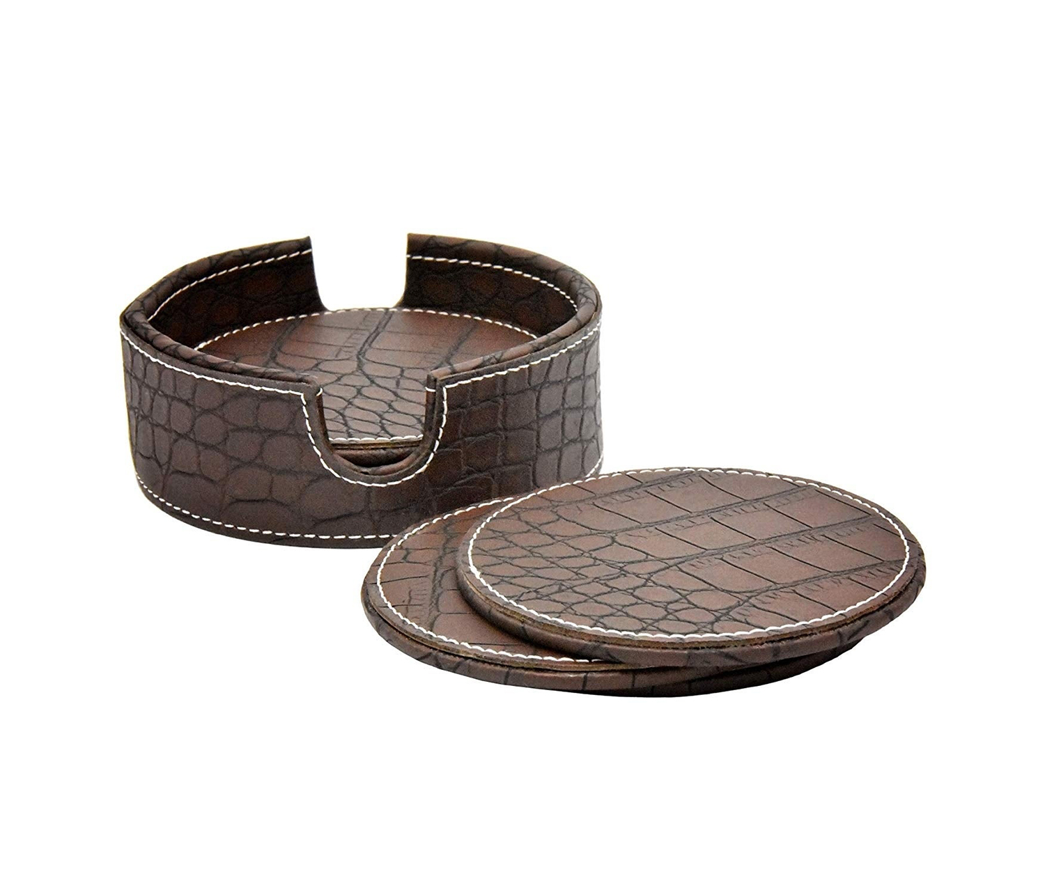 Leather Croc Coaster, Dark Brown