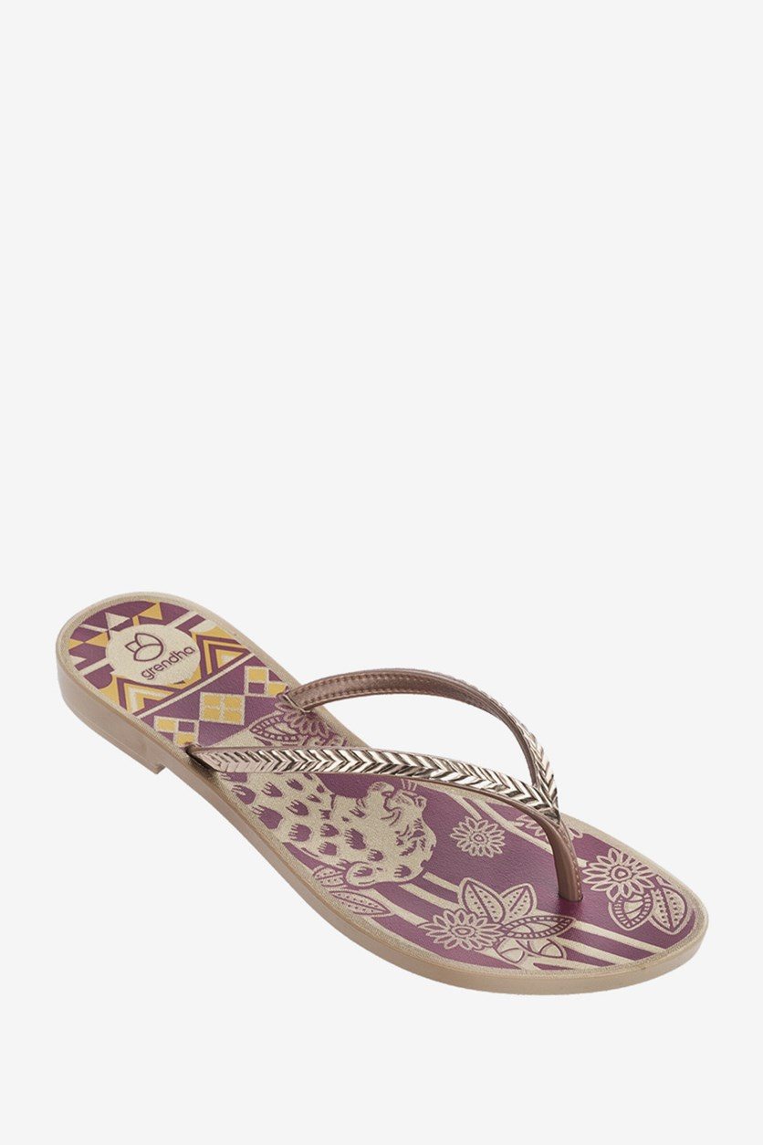Africa Root Slipper, Purple/Bronze