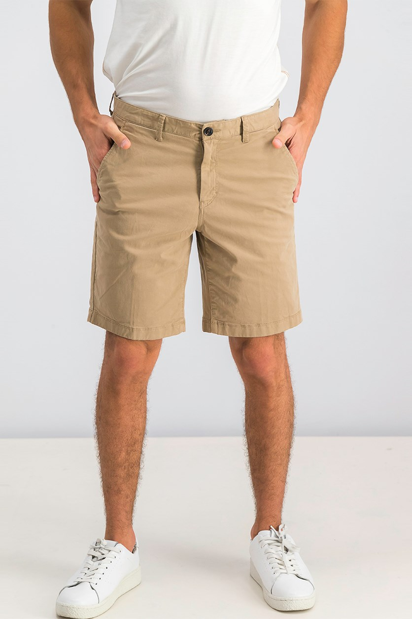 Mens Slim-Fit Cotton-Twill Shorts, Khaki