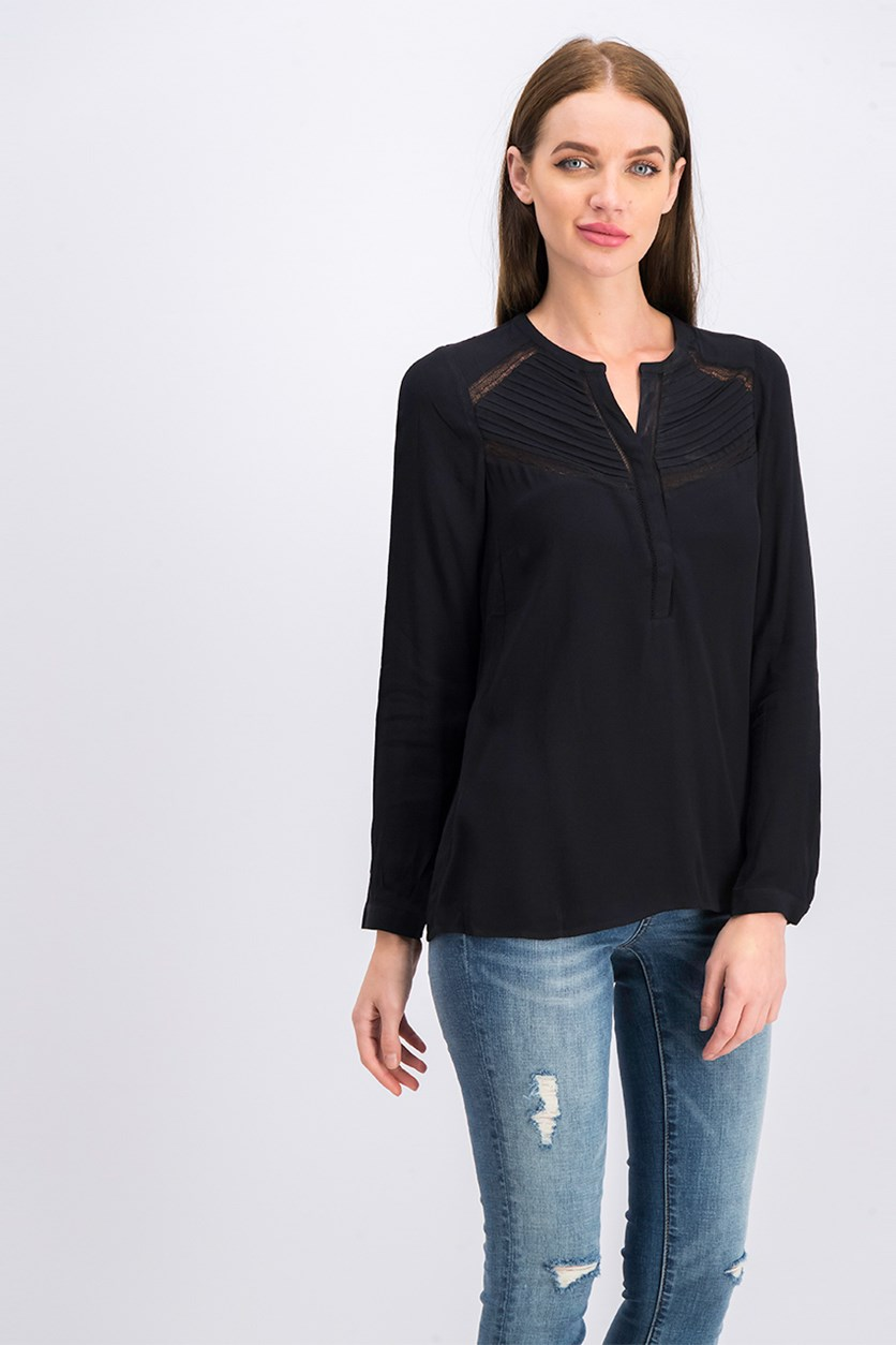 Women Long Sleeve Blouse, Black