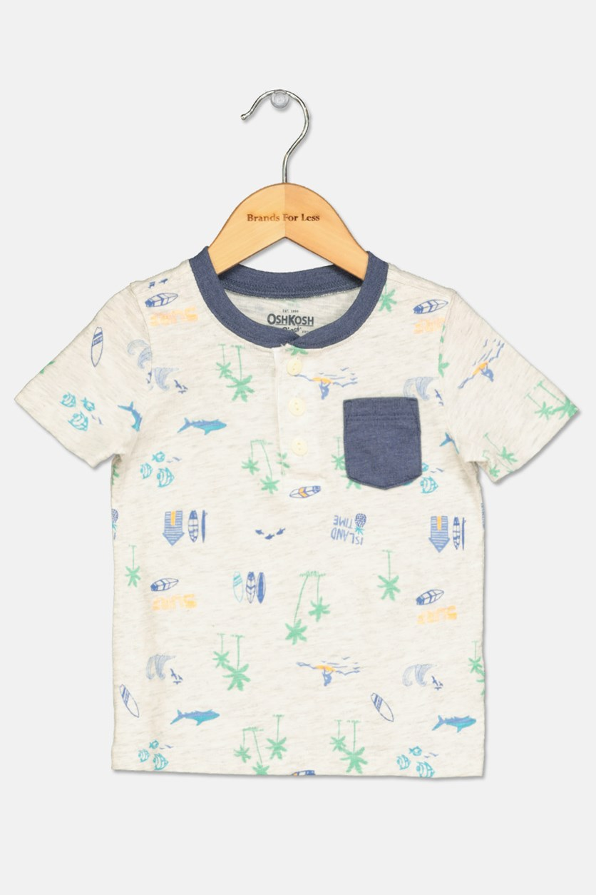 B'Gosh Surf Print Henley, Light Grey Combo
