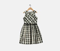Bonnie Jean Big Girls Metallic Plaid Dress, Black Combo