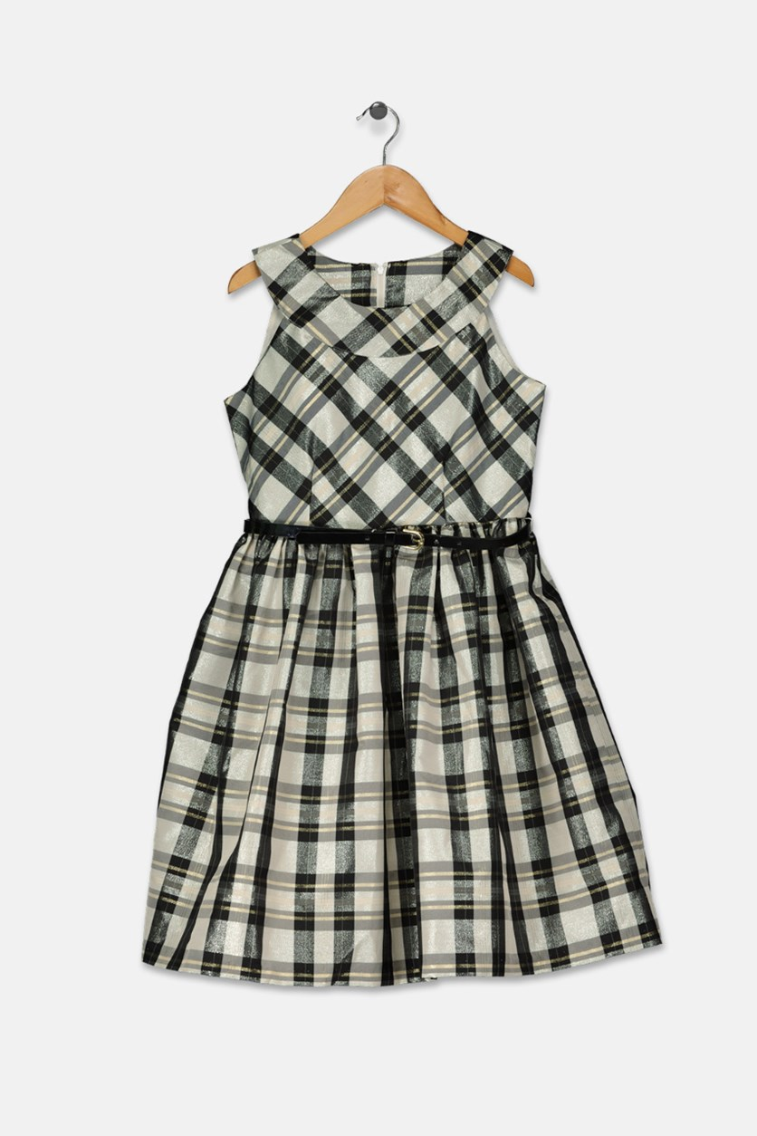 Big Girls Metallic Plaid Dress, Black Combo