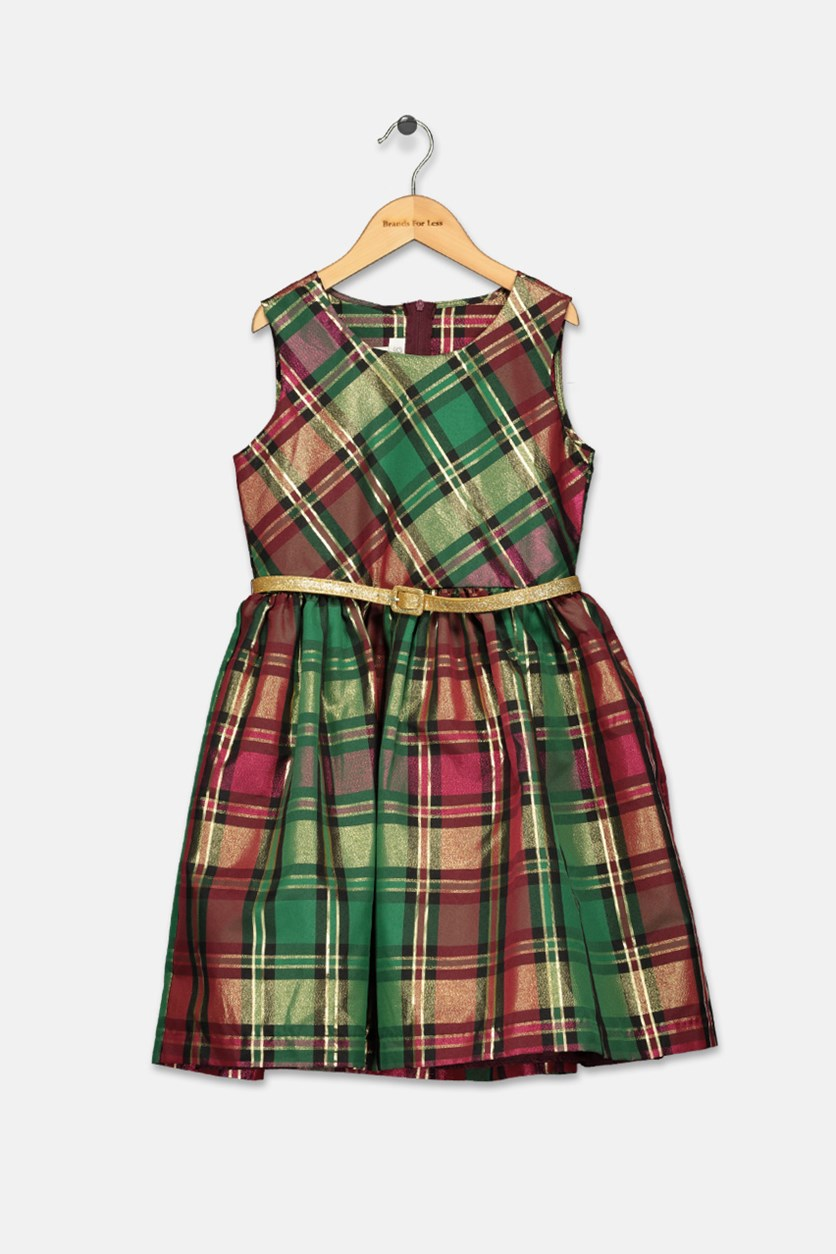 Big Girls Metallic Plaid Dress, Burgundy Combo