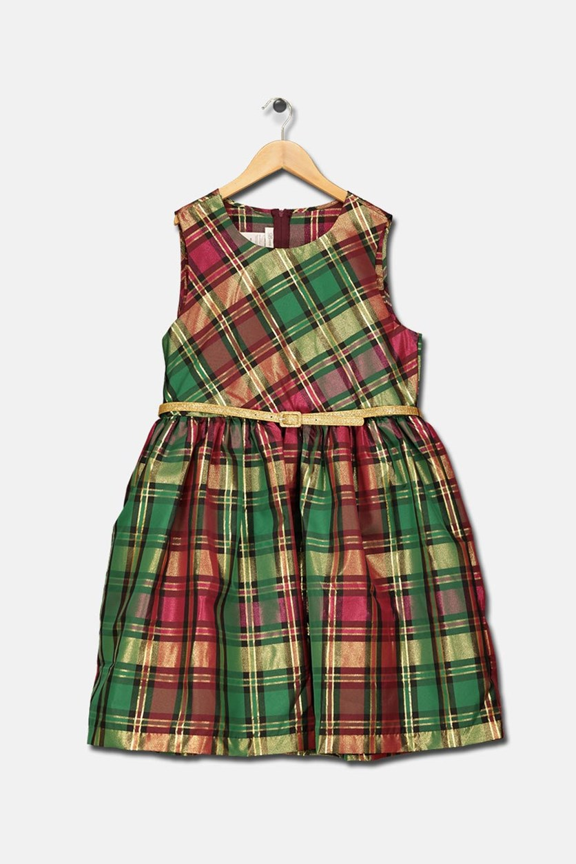 Kids Girls Plaid Dress, Green Combo