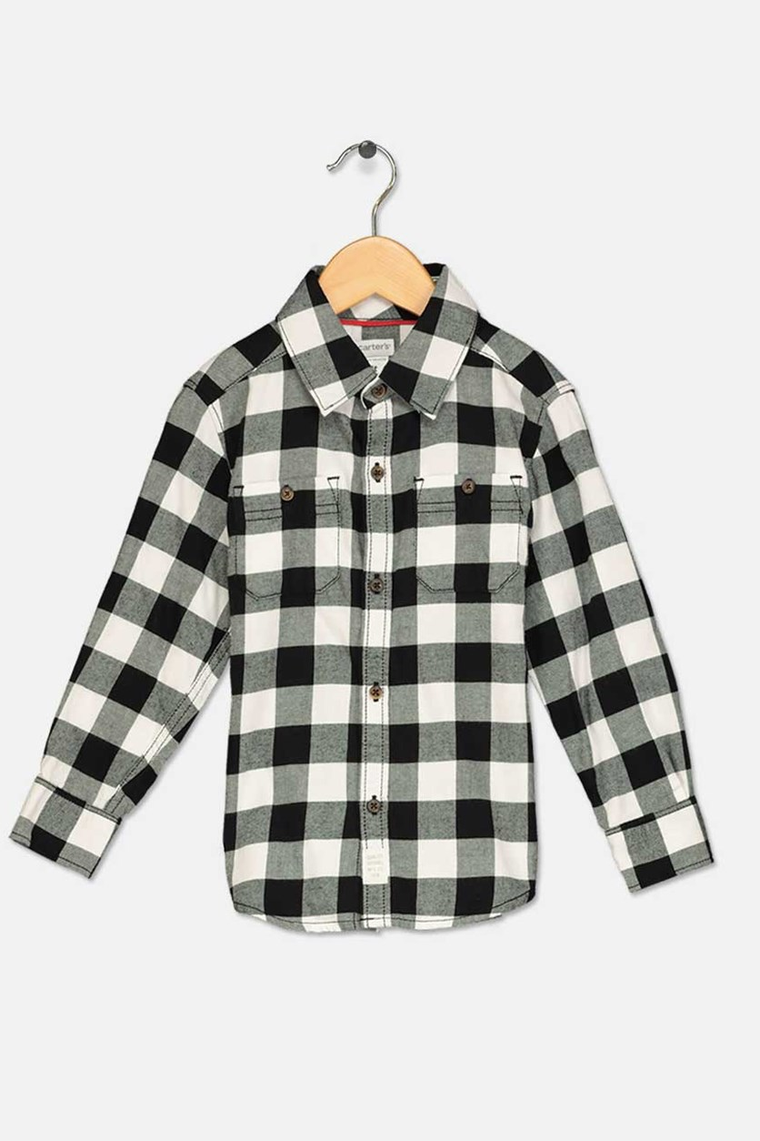 Carter's Toddler Boys Checked Shirt, Black/White
