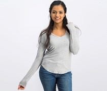 Planet Gold Women's V-Neck Top,  Heather Gray
