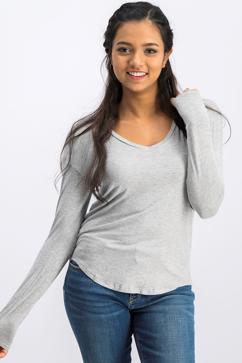 Women's V-Neck Top,  Heather Gray