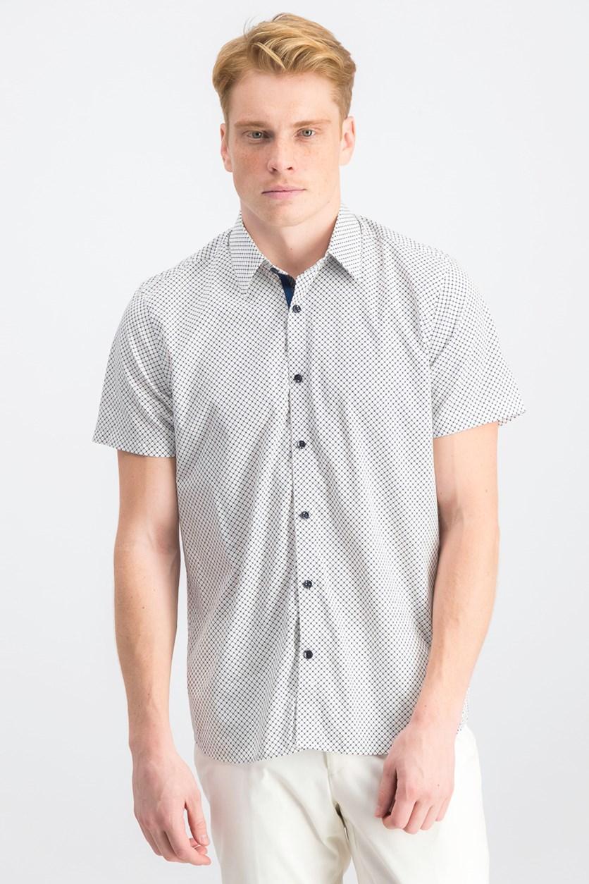 Men's Diamond Grid Shirt, White/Navy