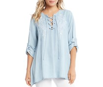 Karen Kane Women's Embroidered Lace-Up Top, Blue