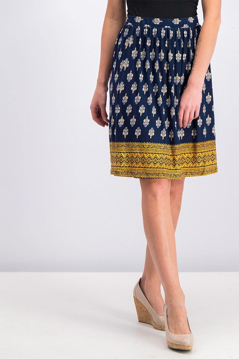 Women's Printed Midi Skirt, Blue Combo