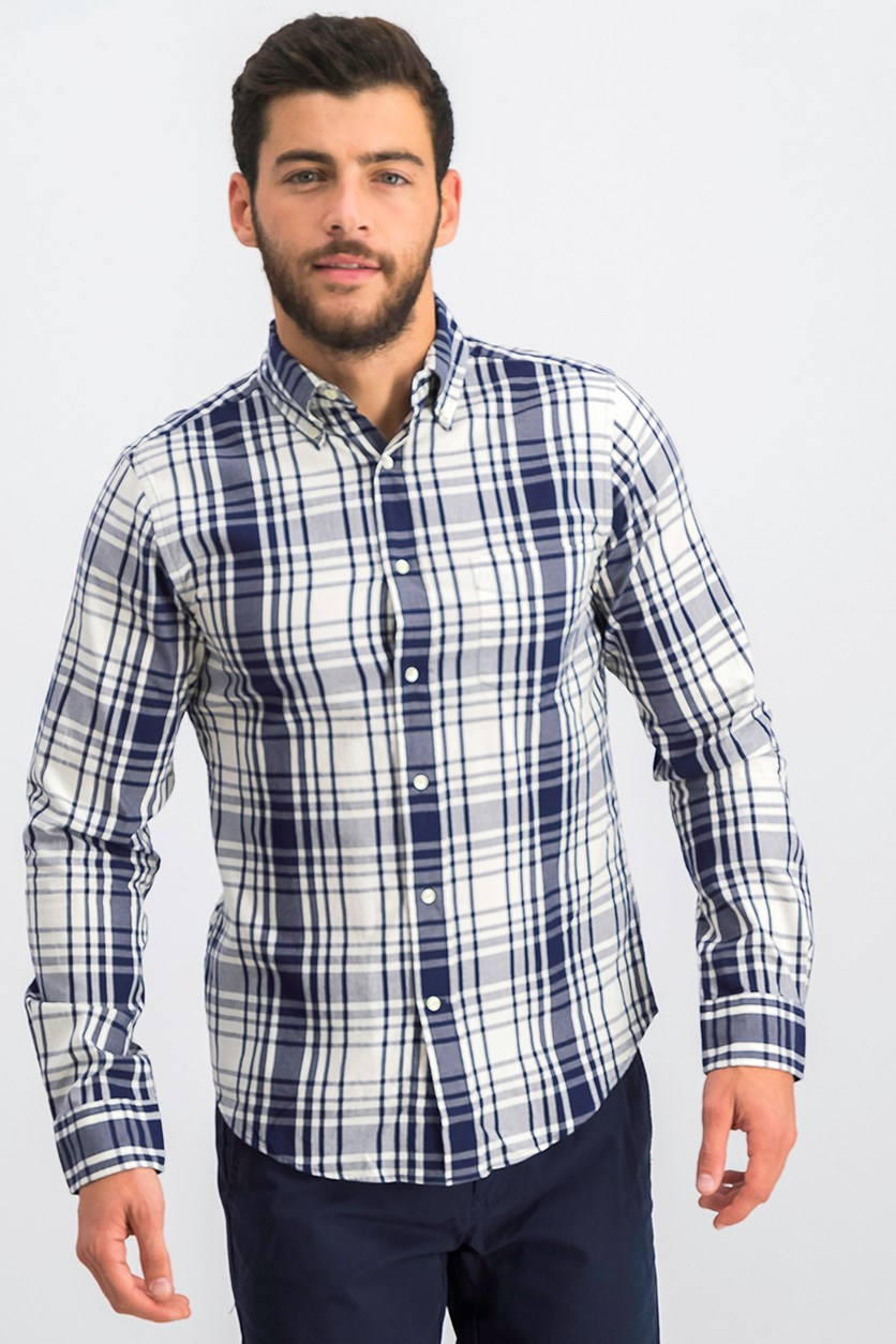 Men's Dreamy Oxford Plaid Shirt, Navy/Cream