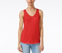 Maison Jules Cotton V-Neck Tank Top, Red