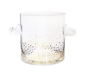 Fitz And Floyd Luster Glass Ice Bucket, Gold