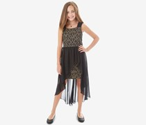 Bcx Girls 2-Pc. Bonded Lace Overlay Dress & Necklace Set, Black