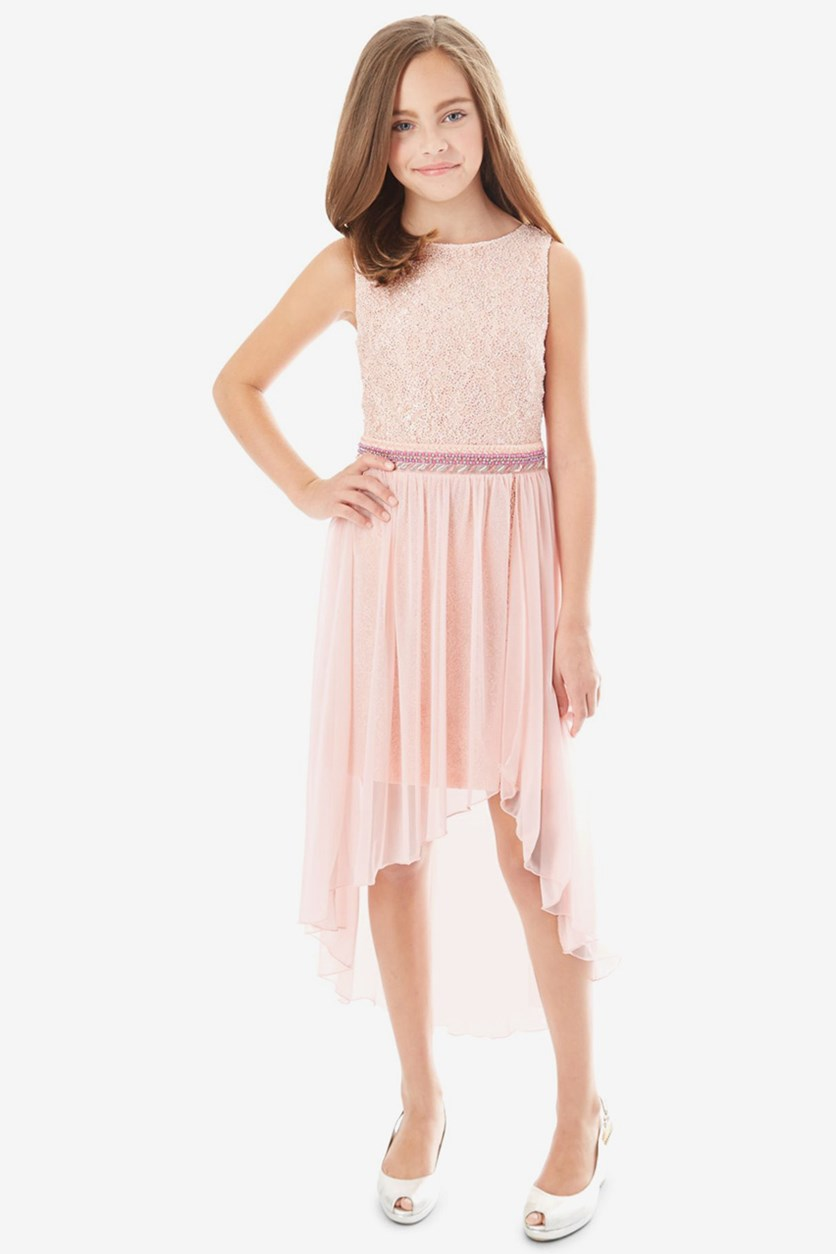 Girls Glitter Lace Maxi Overlay Dress, Blush