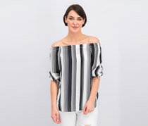 Status By Chenault StripeOff Shoulder Tops, Black Combo