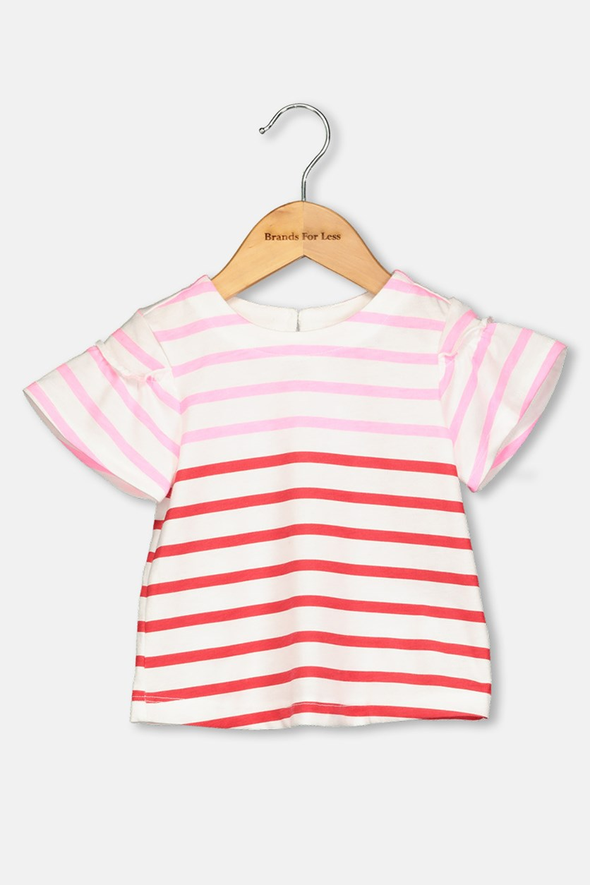 Toddlers Stripe Print Top, Red/Pink
