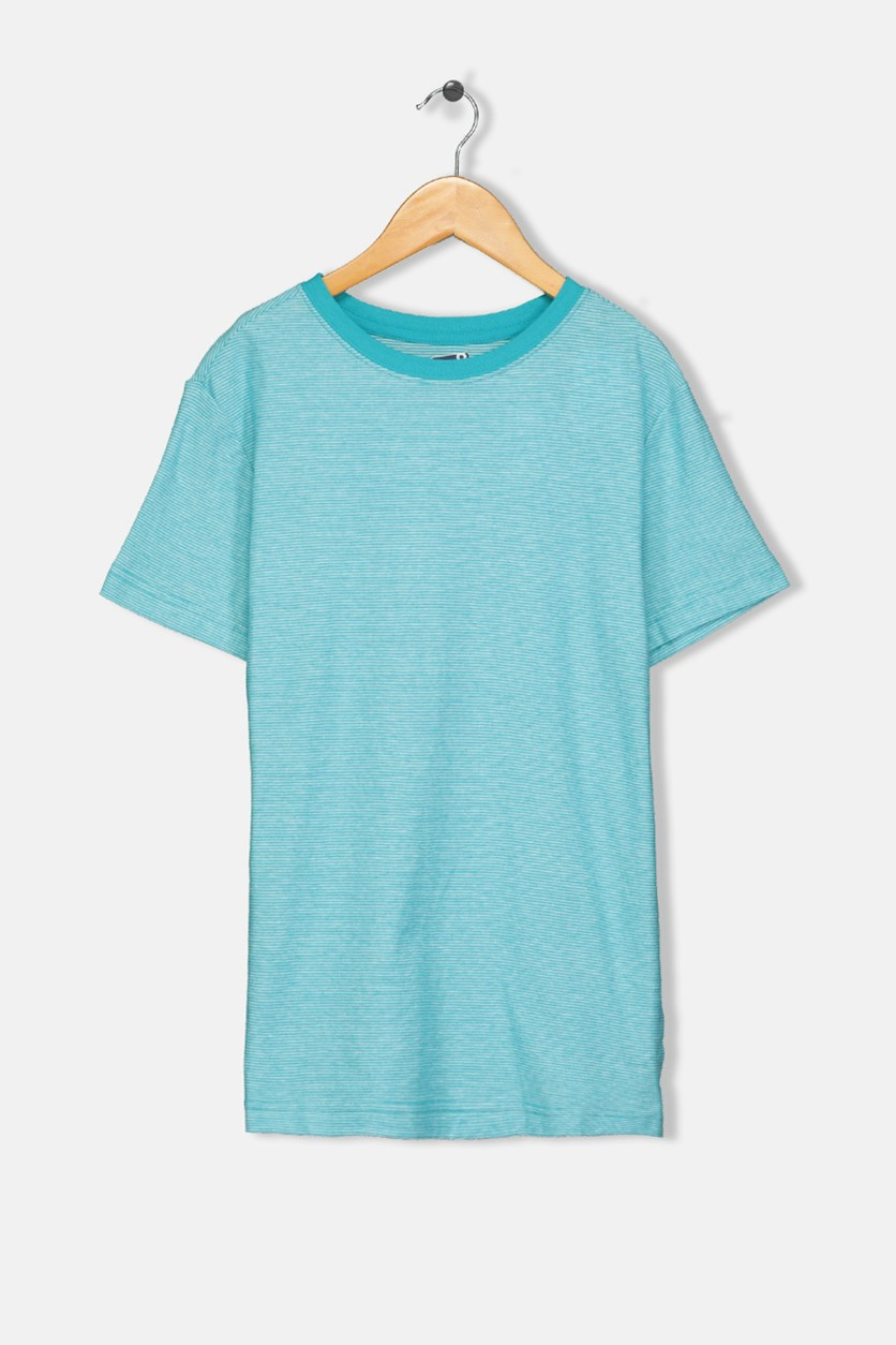 Kids Boys Micro-stripe Tee, Aqua