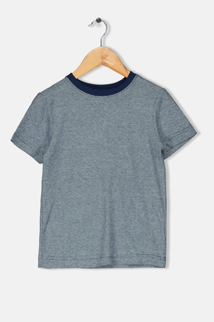 Toddler Boys Micro-stripe Tee, Navy