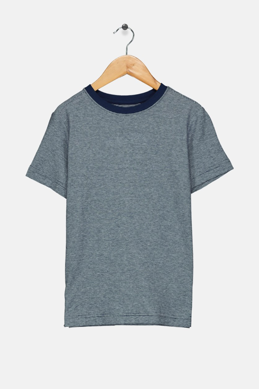 Kids Boys Micro-stripe Tee, Navy