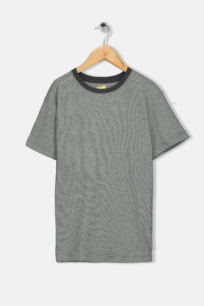Kids Boys Micro-stripe Tee, Grey