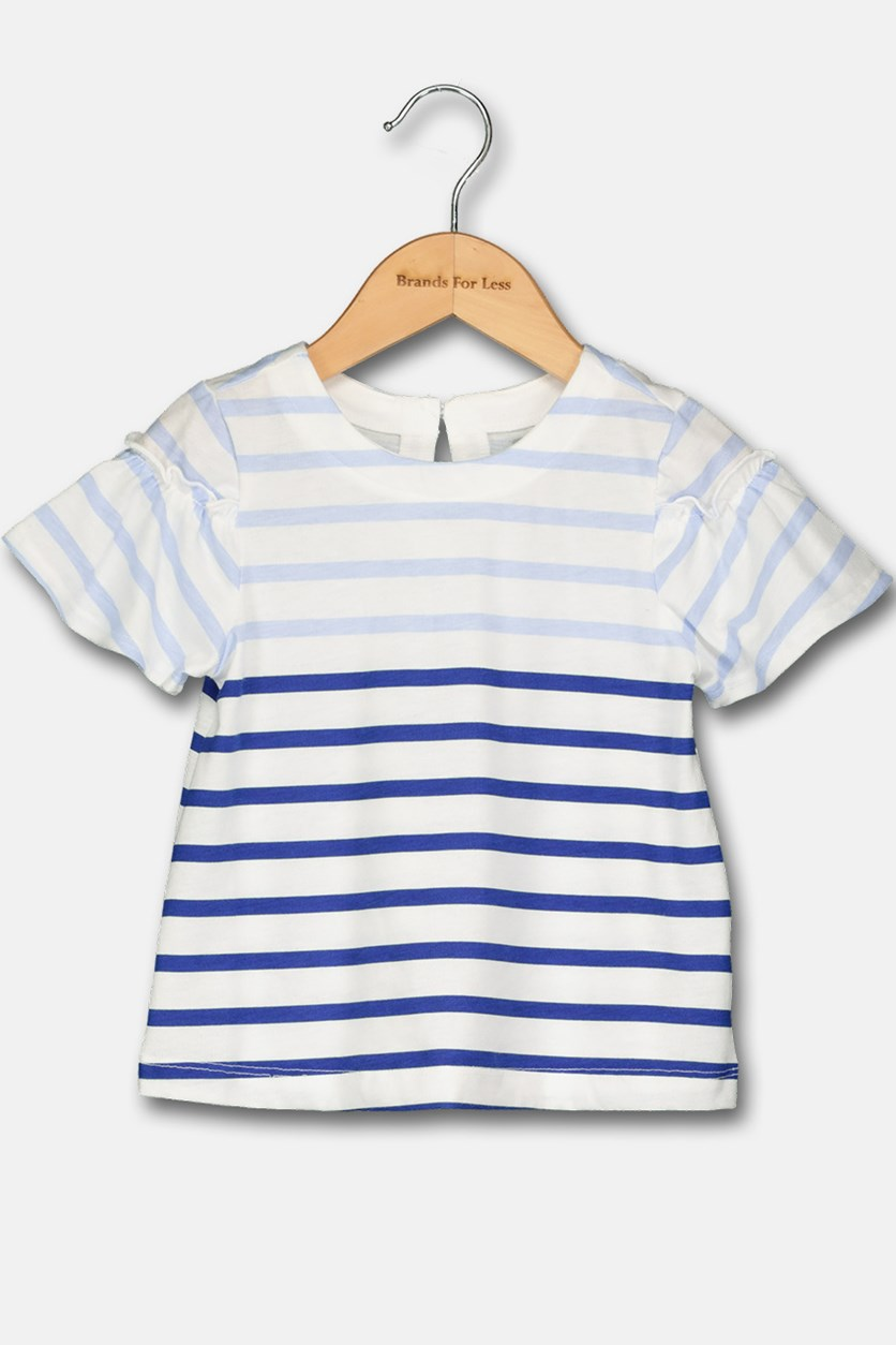 Toddler Girl's Stripped Tee, White/Blue