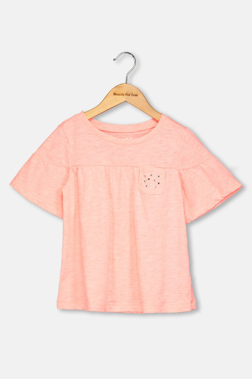 Kids Girls Plain Tops, Neon