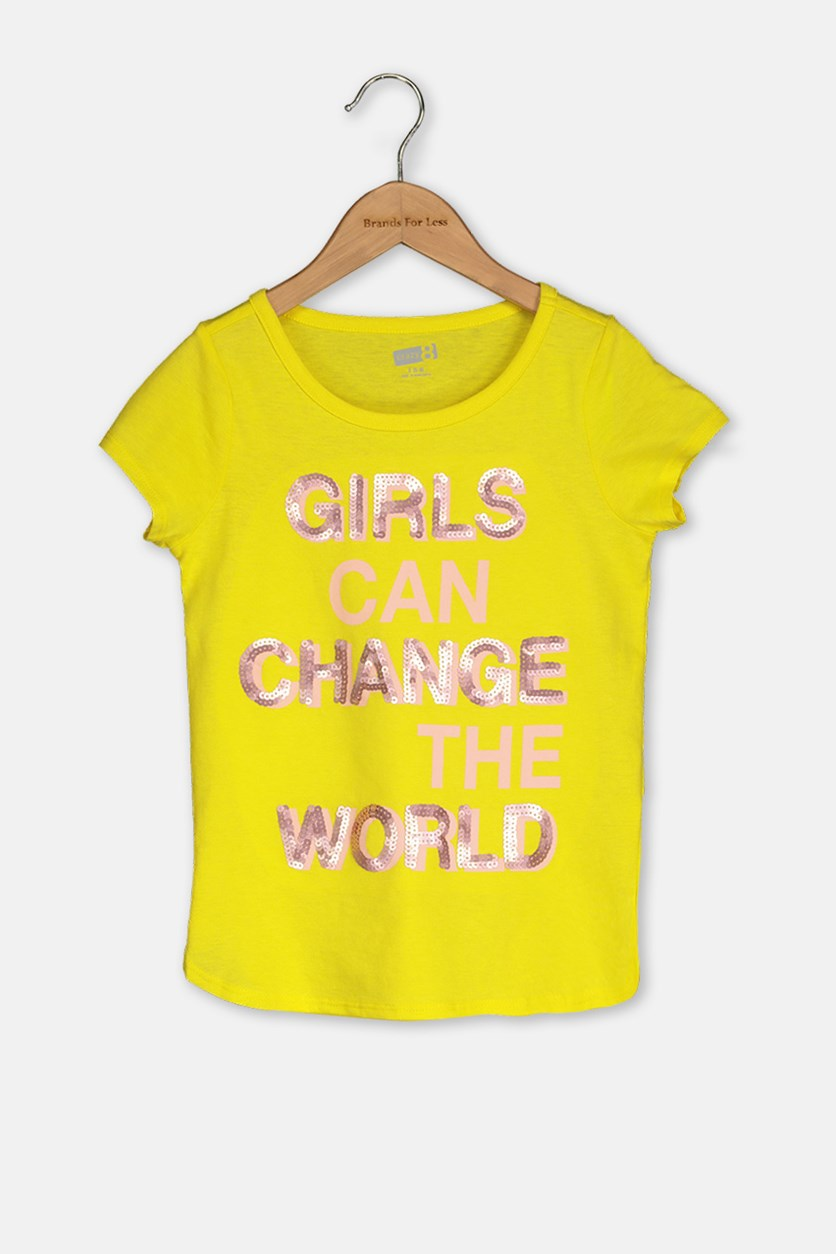 Kids Girl Sequins Top, Yellow