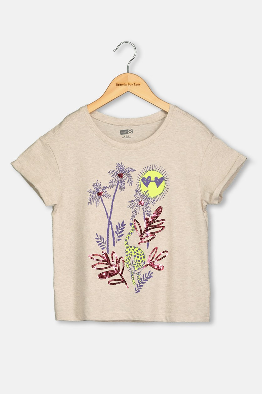 Kids Girl Graphic Print Tops, Beige