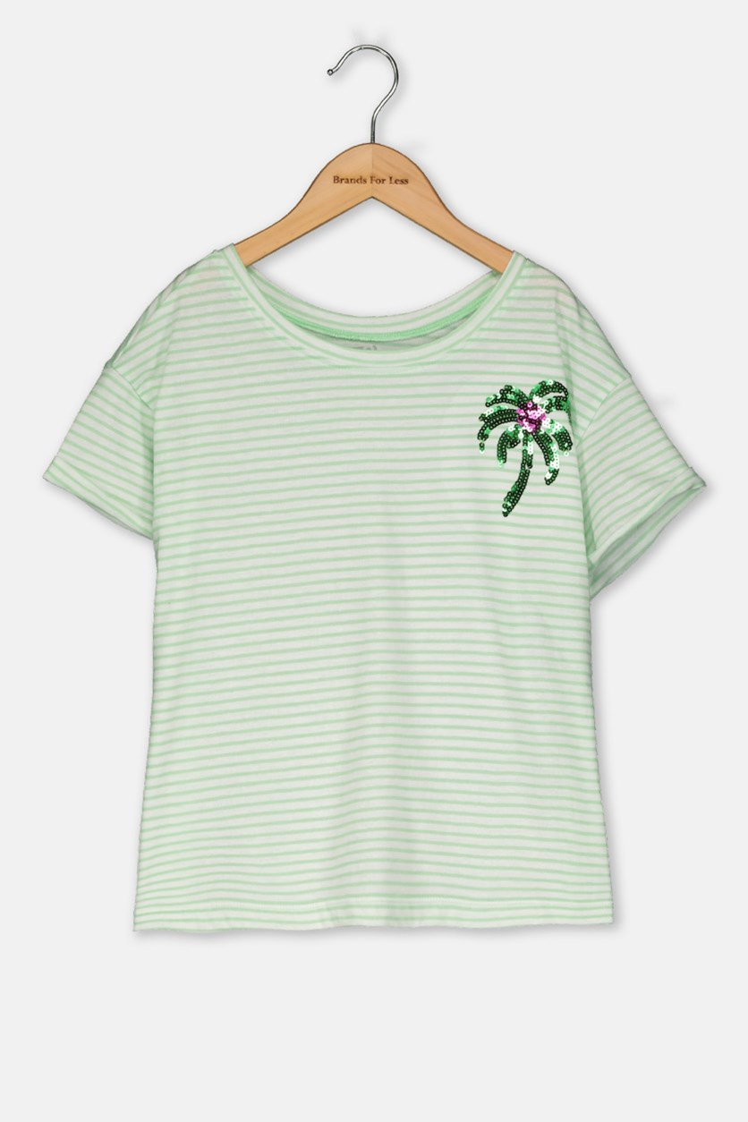 Kids Girl Stripe Tops, Light Green