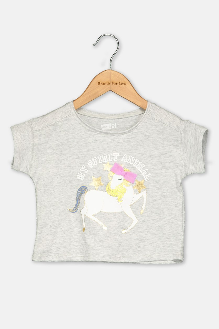 Toddlers Girls Graphic Tops, Grey