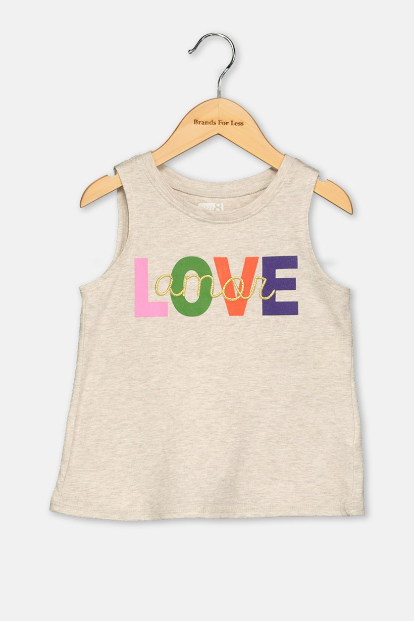 Toddlers Girl's Love Print Tee, Beige