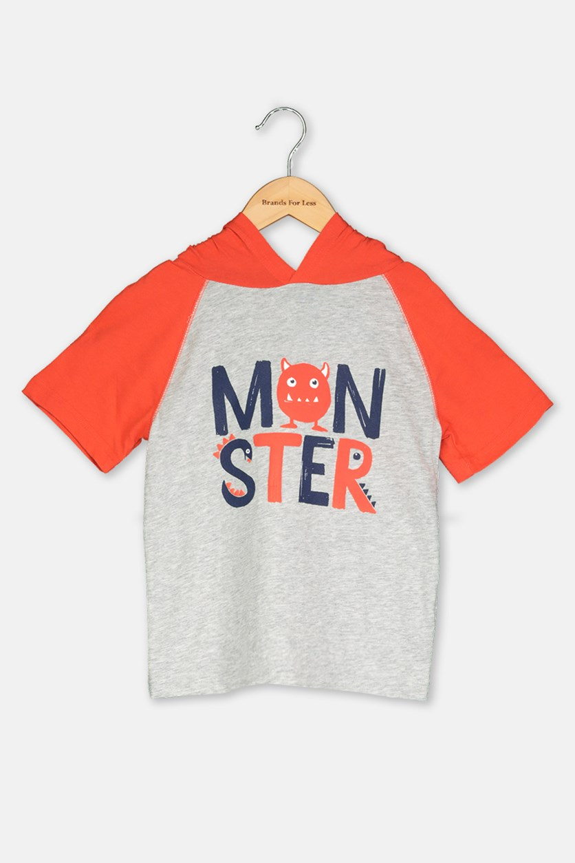 Toddler Graphic Hoody Shirt, Gray/Orange