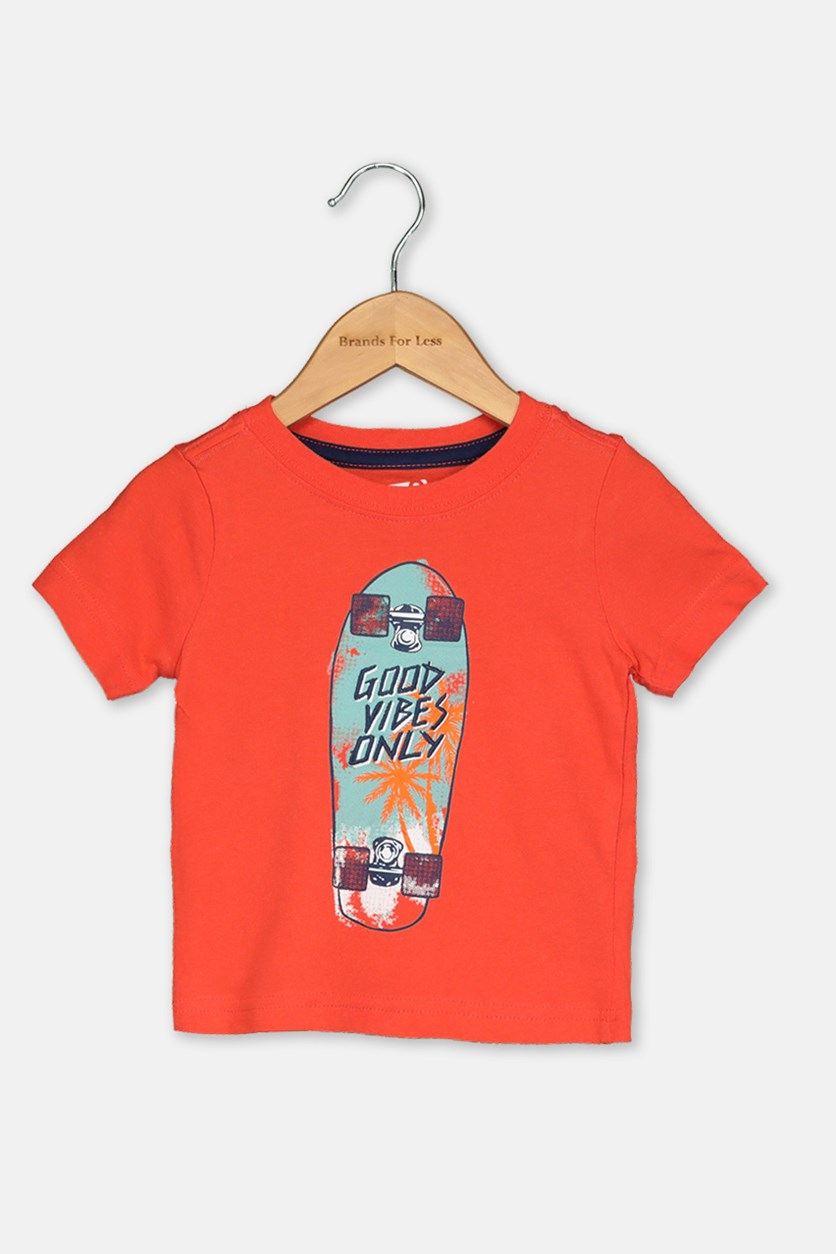 Toddlers Embroidered Print Top, Dark Orange