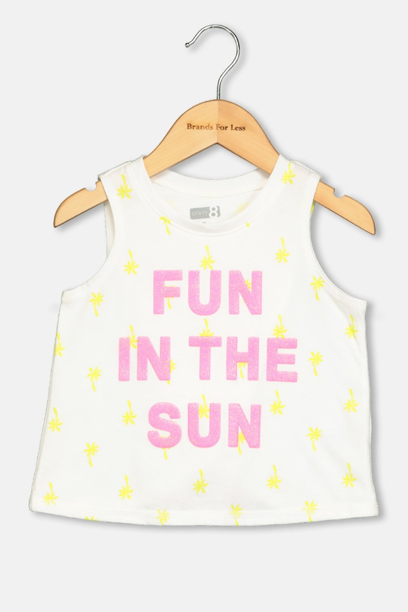 Fun In The Sun Print Tank Tops, White/ Pink