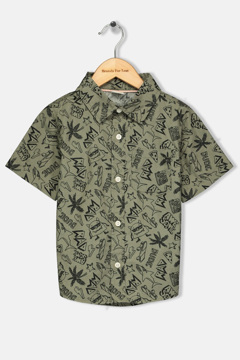 Toddler Boys Graphic Woven Shirt, Olive
