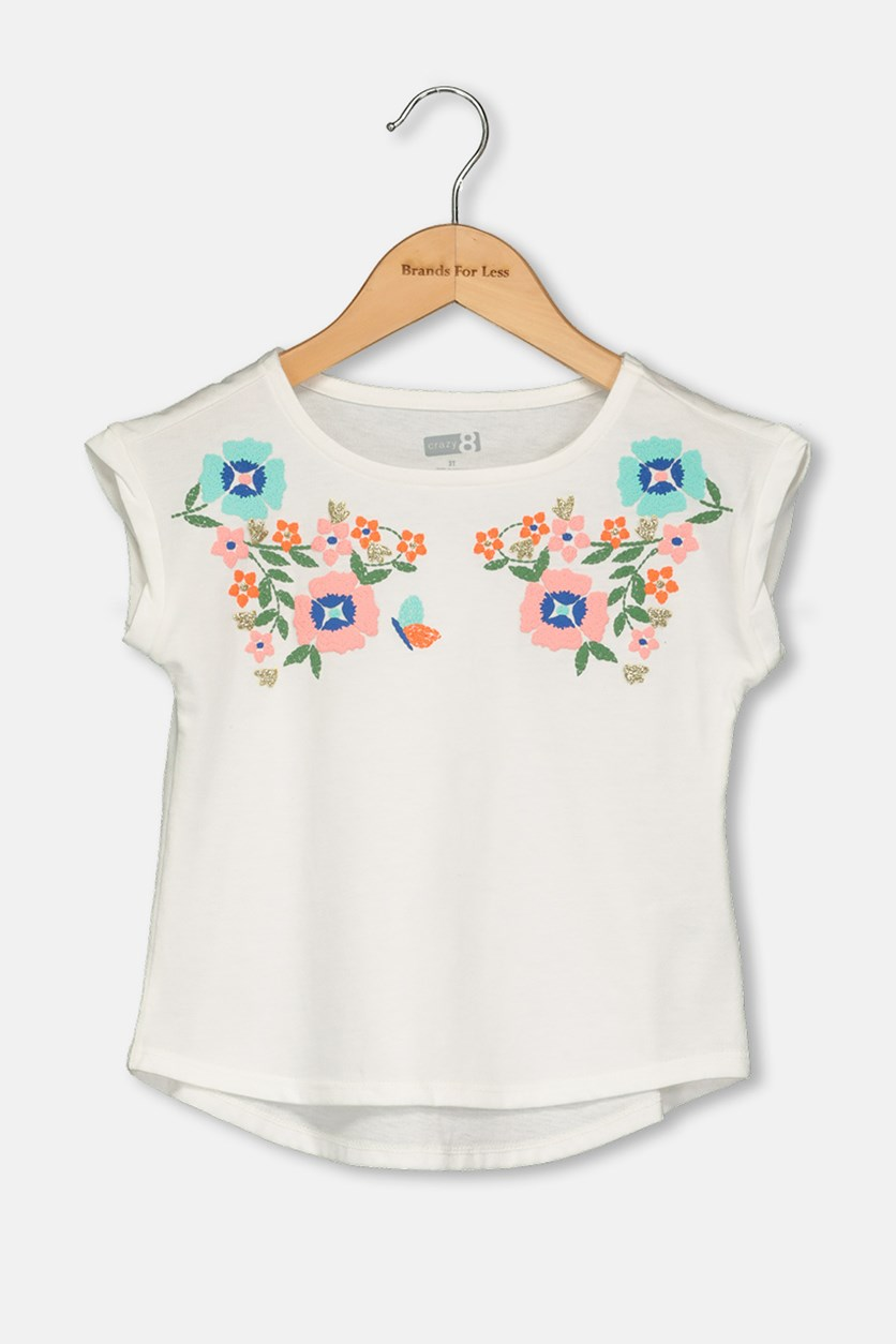 Toddlers Embroidered Tops, White