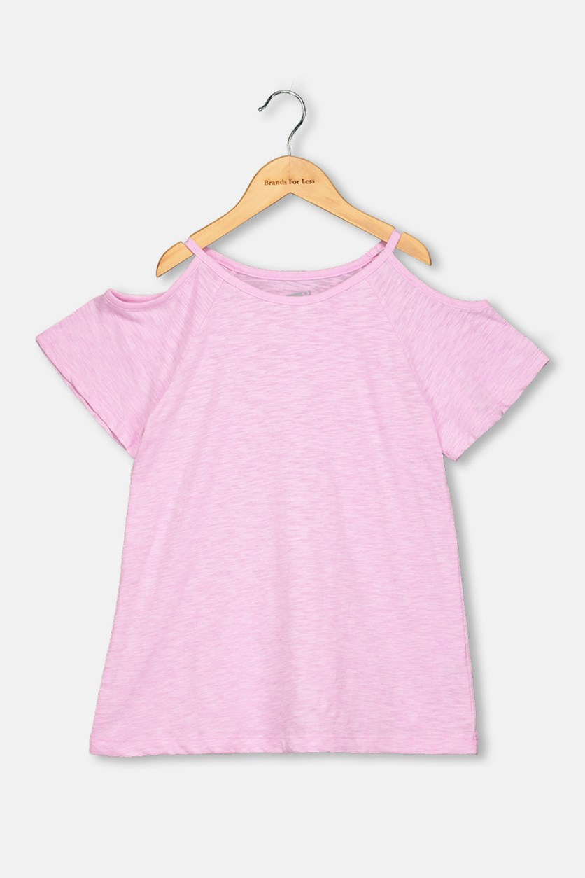 Crazy 8 Kids Girls Cold Shoulder Plain Top, Lavender