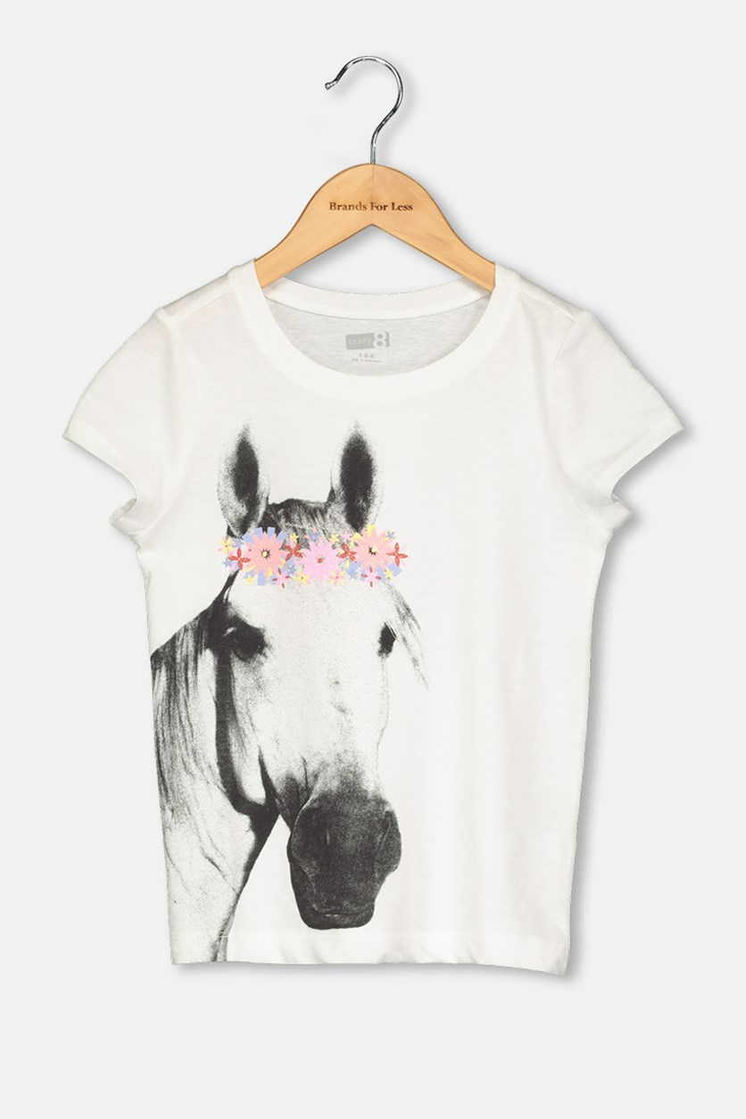 Kids Girl Horse Print Top, White