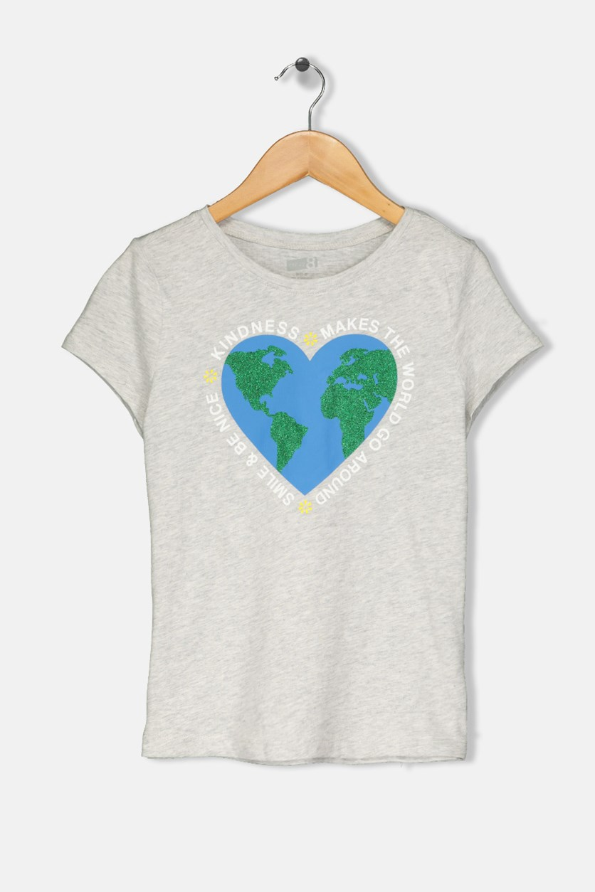 Kids Girls Glittered Heart Graphic T-Shirt, Grey