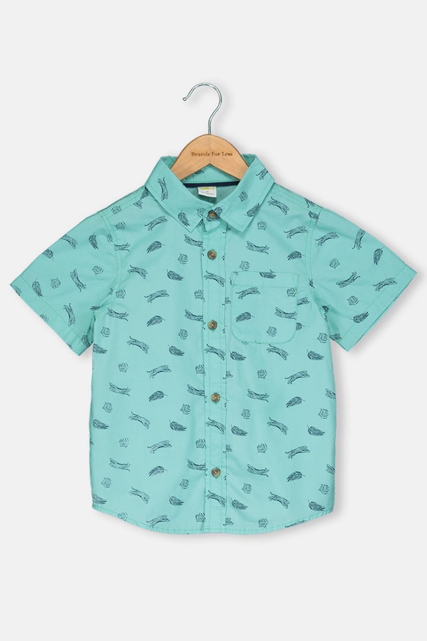 Toddlers Boy Allover Print Tops, Green