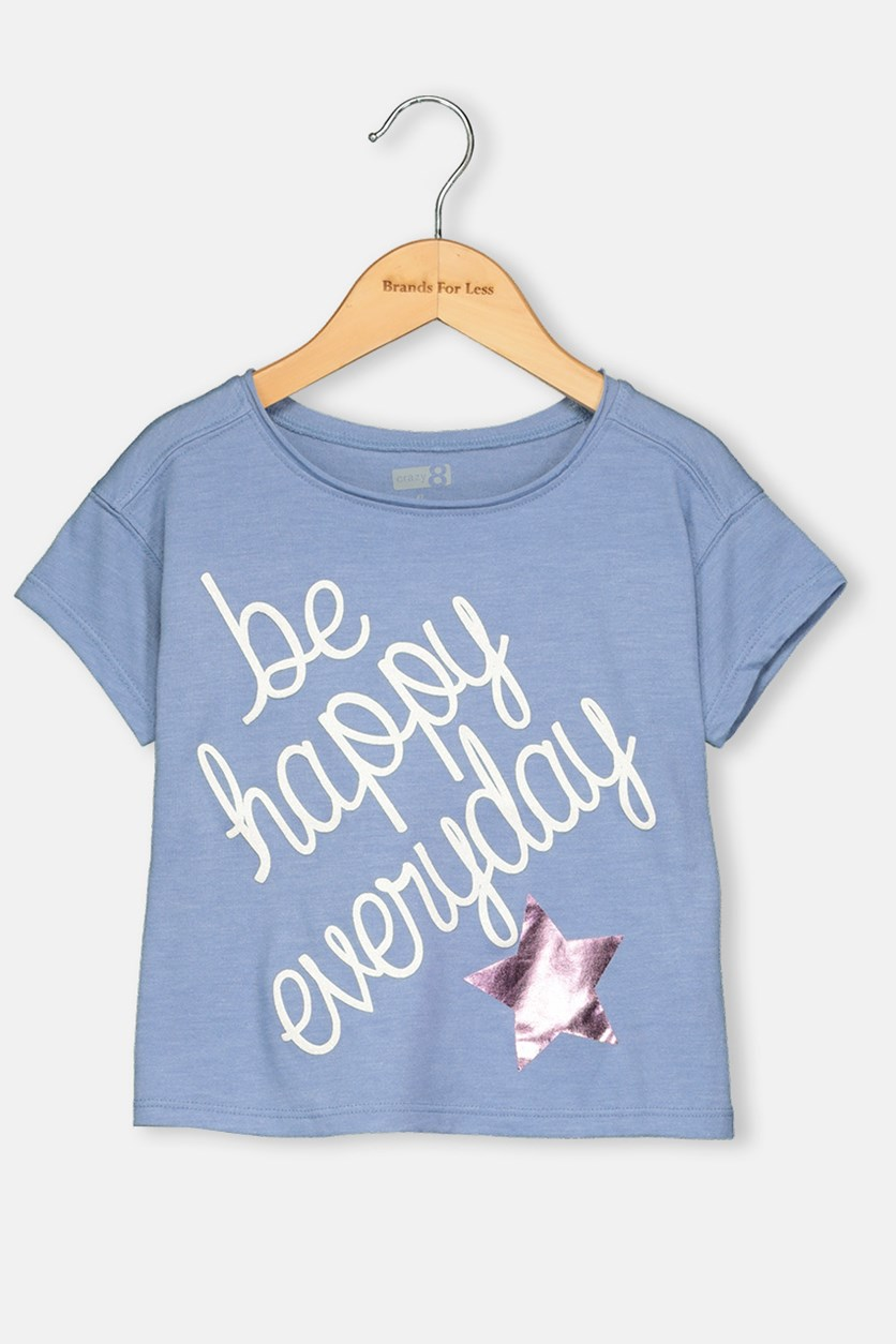 Be Happy Everyday Print Tee, Blue