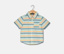 Toddler Boys Stripe Woven Shirt, Turq Combo